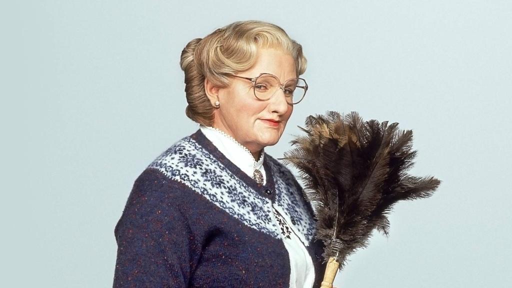 Robin Williams intrepretando a Mrs. Doubtfire